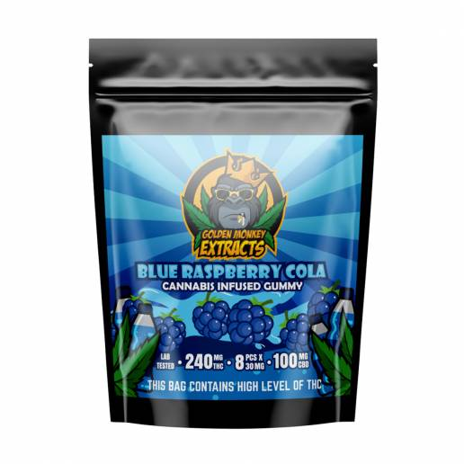 Buy Golden Monkey Blue Raspberry Cola Cola 240mg THC + 100mg CBD Gummies