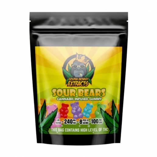 Buy Golden Monkey Sour Bears 240mg THC + 100mg CBD Gummies